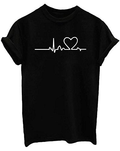 Yeesea donne casuale estate maniche corte camicetta girocollo ragazze bluse camicie cotone stampe t-shirt nero large