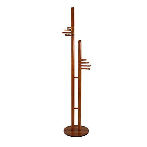 ZWJ-Garderobe Massivholz Doppel-Hauptmast 8Hooks Bodenstehendes Schlafzimmer Flur Hut Handtasche Kleiderbügel Höhe 187 cm -