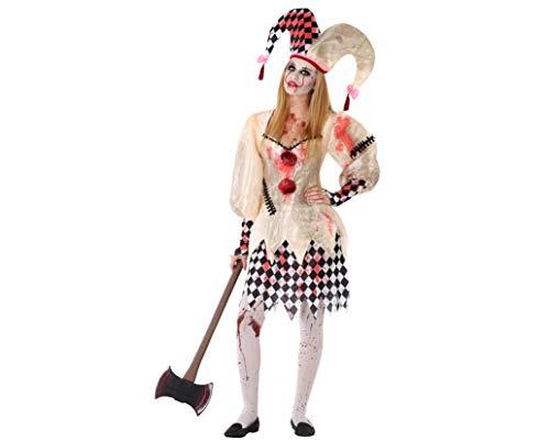 Atosa-61249 atosa-61249 - costume da arlecchino increspato per ragazza, halloween, donna, 61249, colore: bianco, giovane