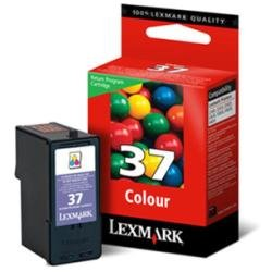 Lexmark Cartridge No. 37 - Print cartridge - 1 x colour (cyan, magenta, yellow) - 150 pages - blister -