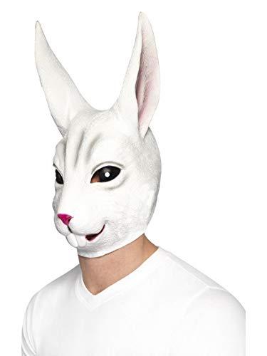 Luxuspiraten - Kostüm Accessoires Zubehör Tier Latex Maske Hase Rabbit Bunny, perfekt für Karneval, Fasching und Fastnacht, Weiß