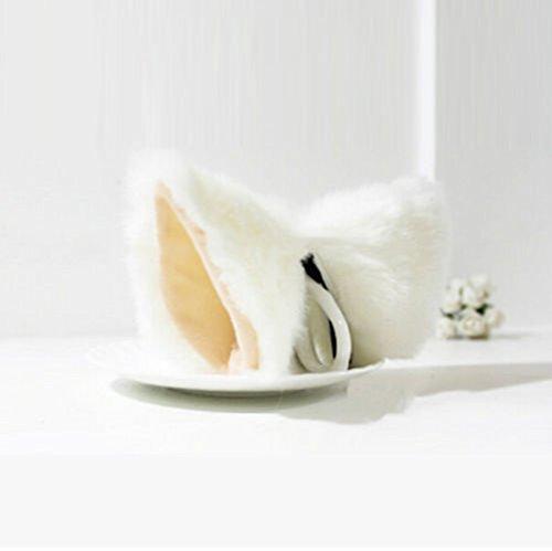 Autone Fellohren mit Haarspangen, Fuchs / Katze, Verkleidung für Cosplay, Halloween oder Party, White&Nude