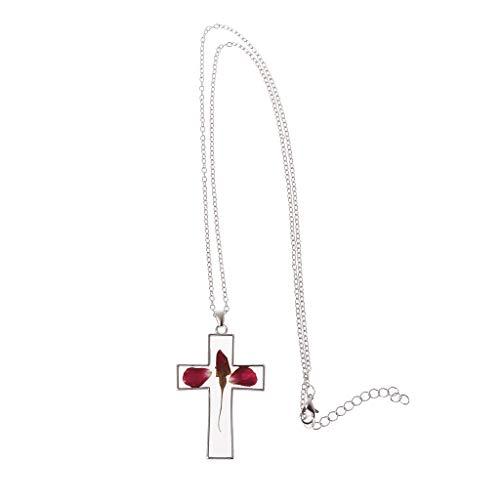 FR-POPPYZ getrocknete Blumen natürliche Rose Halskette Anhänger Pullover Kette gepresste Blume Jewerly - White Rose Rose Feuchtigkeitscreme