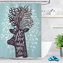 prz0vprz0v Surreal Shower Curtain Blue Green Leaves Floral Decorative Shower Curtains for Bathroom Waterproof Fabric 71 x 79 inch with Hooks Fresh Design Leaf Shower Curtain