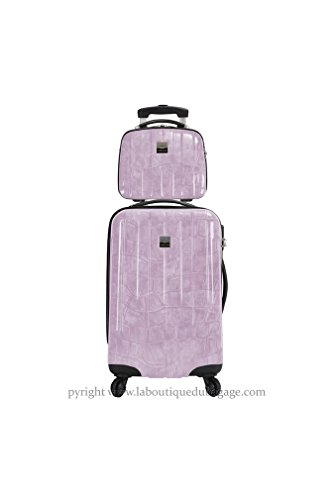 FRANCE BAG - FRANCE BAG Set Valise rigide et Vanity CANCUN Parme Crocodile - 141626-2-PRC