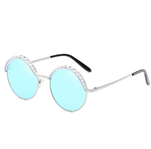 NDY Brille Persönlichkeit Trend Männer Farbe Linse Perle Dekoration Runde Rahmen PC Sonnenbrille Glatte Linie Design,Blue