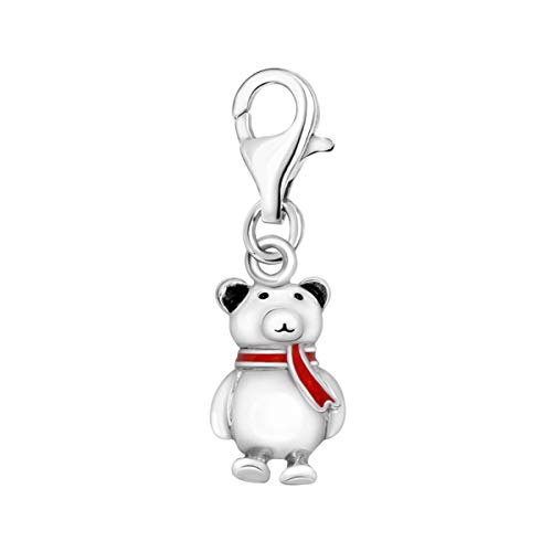 Silver 3D Cute Winter Teddy bär with Red Enamel Scarf Clip On Lobster Clasp Charm Pendant ()
