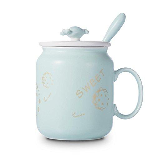 Tasse de café simple créative/tasse de café en céramique/tasse de café couverte de cuillère/tasse de café de grande capacité/tasse de café géométrique (8 couleurs facultatives) (couleur : G)