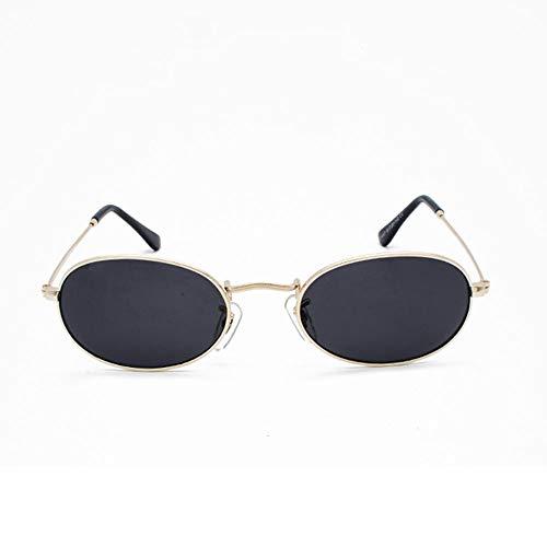Szblk Metalllegierung Sonnenbrille Anti-UV-Outdoor-Sonnenbrille Angeln Sonnenbrille Mode Sonnenbrille Hip Hop Retro Kleine Runde Rahmen Oval (5.31in * 5.31in * 1.41in) (Color : Black)