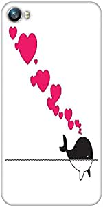 Snoogg abstract illustration of whale with hearts Designer Protective Back Case Cover For Micromax Canvas Fire 4 A107