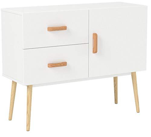homfa tavolo da salotto con tavolo ausiliario tavolo con gambe alte con 2 cassetti 1 porta bianca e rovere 100x40x80cm