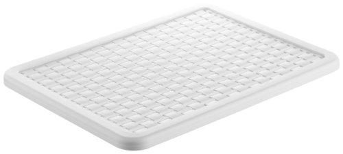 Rotho 1115501100 Deckel zu Aufbewahrungskiste Dekobox Country A4, Maß 37.5 x 28.5 x 1.5 cm (LxBxH), in Rattan-Optik aus Kunststoff (PP), Weiß (Organisiert Box)