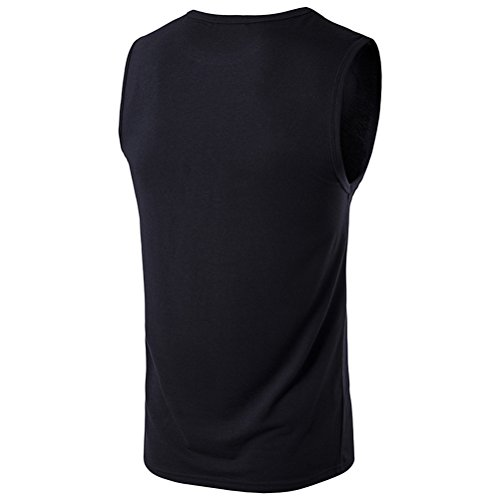 Zhhlinyuan gemütlich Mens Sleeveless Summer Sports Vest Cotton Tank Top T Shirt Black