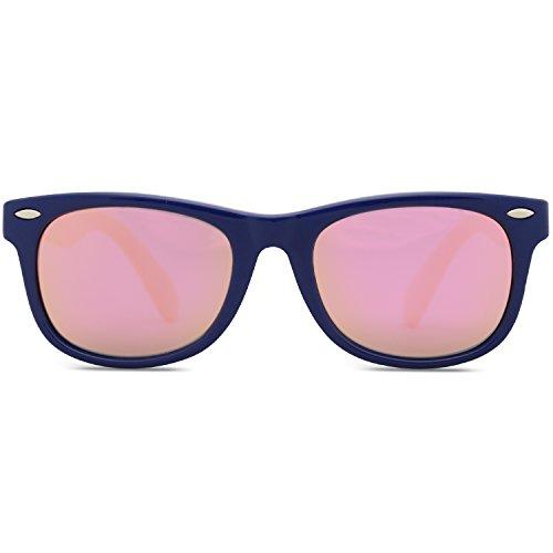 SOJOS Kinder Wayfarer Flexible Silikon gummiert verspiegelt Sonnenbrille für Jungen und Mädchen SK205 mit Dunkelblau Rahmen/Rosa Linse