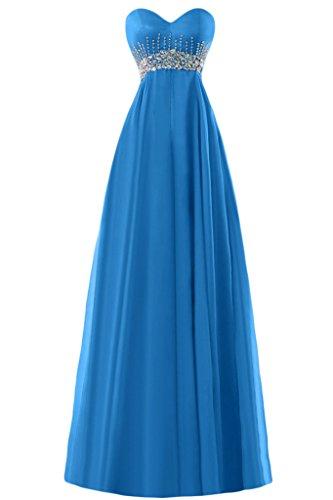 Gorgeous Bride Elegant Herz-Ausschnitt Empire Chiffon Lang Kristall Abendkleider Ballkleider Festkleider Blau