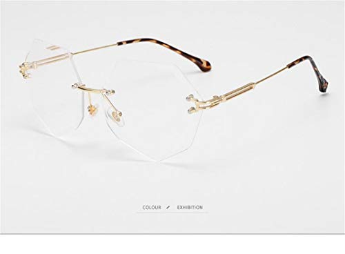 DAIYSNAFDN Unregelmäßige Sonnenbrille Mode Brille Schnitt Rand Sonnenbrille für männer und Frauen rahmenlose Metall Sonnenbrille Transparent