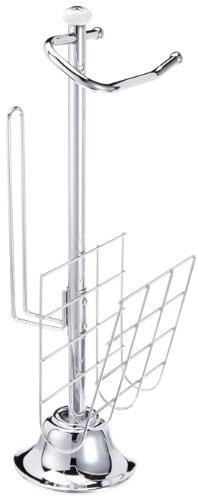 TOP STAR Toilettenpapierhalter freistehend mit Zeitungsständer - Rollenhalter mit Ablage - 3in1 Toilettenpapierständer aus Chrom - Klorollenhalter ohne Bohren