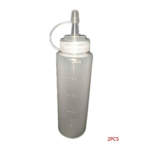 beIilan 2 Piezas de Escala Transparente Botellas de compresión dispensador Recargable tapón pulsador Ensalada Salsa de Mostaza Ketchup 240ml 8oz