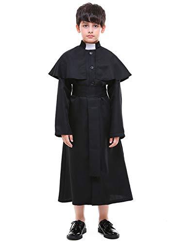 A&J DESIGN Kinder Schwarz Priester Pastor Kostüm Chor 2 Stücke Cosplay Kostüm Set (Schwarz, M) (Judas Kostüm)