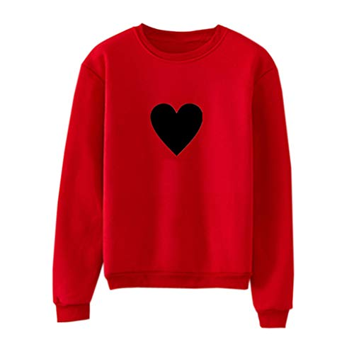 Floweword Paar Langarm Pullover Unisex Männer Frauen Winter Casual Oansatz Sweatshirt Nettes Herz Gedruckt Pullover Bluse - Herz Tunika Pullover