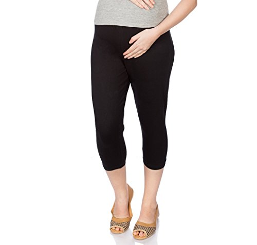 Goldstroms Women's Maternity Capri (Black, XL)