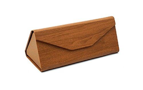 Custodia per occhiali triangolare pieghevole in finto legno scuro, per telai piccoli e medi, chiusura magneticai per uomini & donne