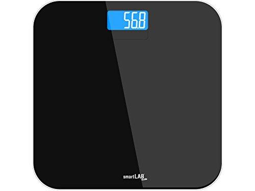 smartLAB scale Personenwaage Digital aus Hartglas für präzise Gewichtsmessung mit LED Dispay Schwarz