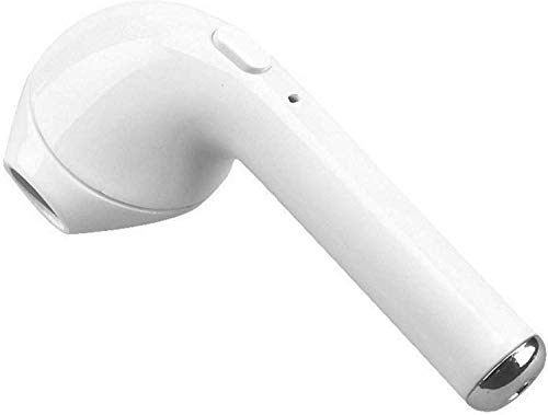 MUGAMO Wireless i7 Bluetooth handsfree Headset Single Ear Earphone with inbuilt Rechargeable Battery and Calling Functions (White)