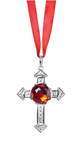 Cross Necklace With Large Red Stone (Cross Dress Party Kostüm Ideen)