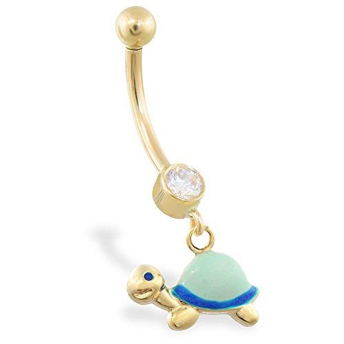 14K Gelb Gold Bauch Ring mit Dangling emailierten Schildkröte