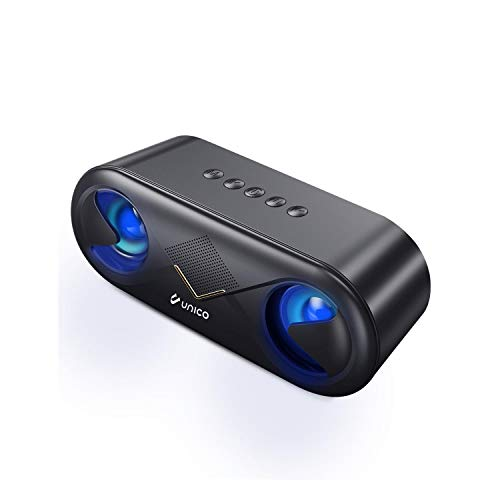 Unico - Altavoz Bluetooth 5,0 Luces LED, Altavoces Bluetooth, Doble Altavoz Stereo, Micrófono, Inalámbrico. Color Negro