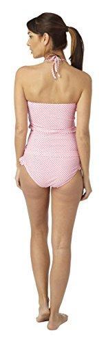 Damen Annie Gingham Rüsche Tankini Bikini–Krawatte Neckholder Pink & White