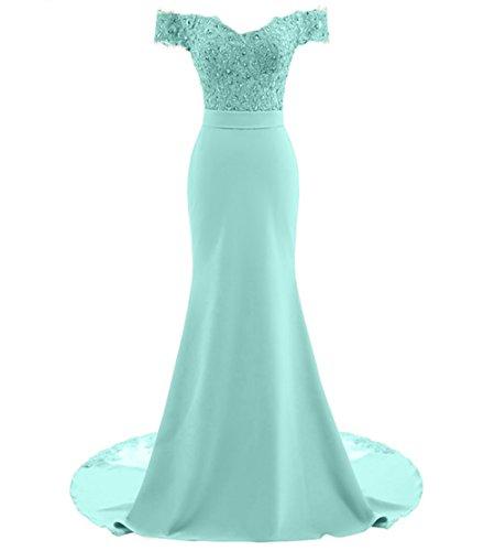 Tiffany Ballkleid (LoveeToo Damen Mermaid Abendkleid Spitze Formal Partykleid Aus der Schulter Lange Hochzeitskleid Brautjunfernkleid(EUR52,Tiffany Blau))