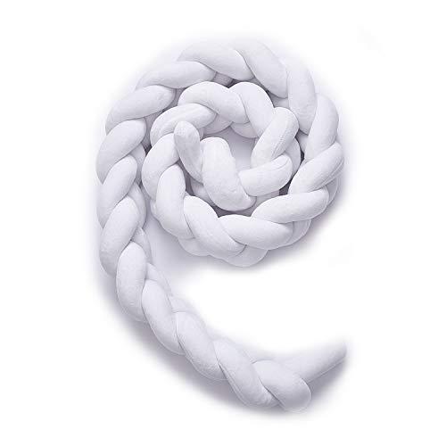 Fashion·LIFE Baby Krippe Stoßstange Weben Bettumrandung Nestchenschlange Baby Nestchen Kinderbett für Babybett Bettausstattung Kinderbett Stoßstange,1.5M Weiß - Weiße Bettwäsche Kinderbett Stoßstange