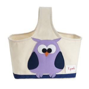 100% Cotton 3Sprouts Storage Caddy Coated Inside–Purple Owl–Perfect Gift For Baby Showers Nourrisson, Babe, Infant Enfant, Petite, bébé, Toddler