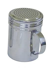 Stainless Steel 10oz Dredger Shaker with Handle - Ideal for Sugar, Salt, Icing Sugar, Flour, Chocolate, Cappuccino, Cocoa, Mince Pies, Pancakes
