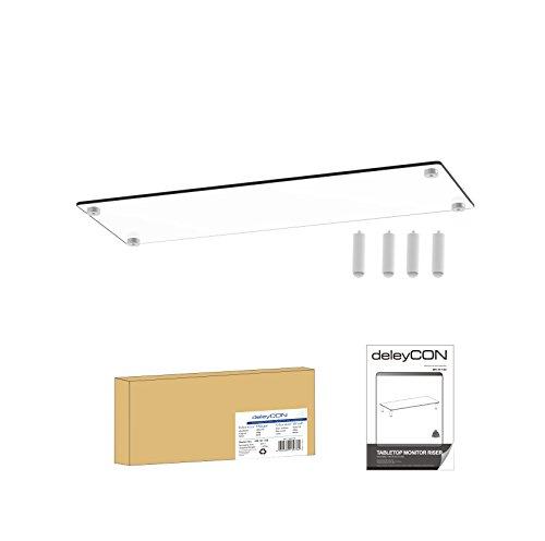 deleyCON Monitor Stand Untersatz Erhöhung Bildschirmständer 20Kg 4 Füße Monitorständer Glas Ablage Schreibtischaufsatz Laptoptisch TV Display PC Weiß - 6