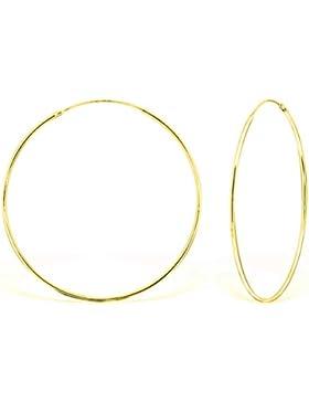 DTPsilver - Damen - Groß Creolen - Ohrringe 925 Sterling Silber und Gelb Vergoldet - Dicke 1.2 mm - Durchmesser...
