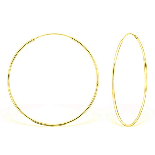 DTP Silver - Argento 925 placcato in Oro Giallo - Orecchini da donna a Cerchio - Spessore 1.5 mm - Diametro 70 mm