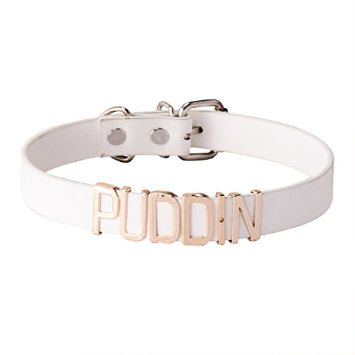 Jane Stone White Leather PUDDIN 3D Word Fetish Choker Necklace for Women