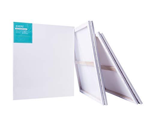 Exerz Packung mit 4 - Keilrahmen/Leinwand/ Gerahmte Kunstleinwände/ 50 x 60 cm 280GSM/ Vorgespannt 100% Baumwolle/Blank / dreifach grundiert/Ohne Säure/mittelkörnig / 1.7cm dick E5309-5060-4PK