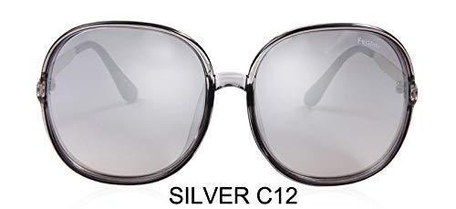 LKVNHP Farbverlauf Übergroße Damen Sonnenbrille Große Rahmen Kunststoff Transparent Weiß Mode Farbige Unisex Sonnenbrille KlarWTYJ065 grau c12