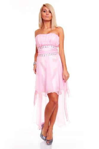 Elegantes Bandeau Kleid Chiffon Ballkleid Abendkleid Cocktailkleid Festkleid Rosa