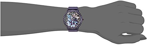 8ceed11a0 Stainless steel mesh bracelet with jewelry-clasp closure. Round face.  Three-hand analog display with quartz movement. Sequined dial features  silver-tone ...