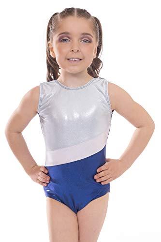 Vincenza Dancewear 'Shimmer' Girls Short Sleeved (Sleeveless) Leotard for Gymnastics (Blue and Silver Stripe, 10-11 ans)