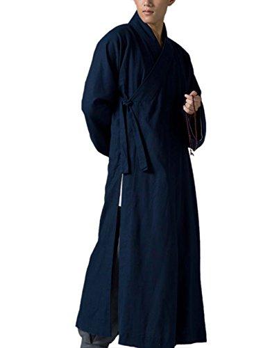 KATUO Traditionelles Herren Lange Gewand Buddhistischer Mönch Bademantel dunkelblau Gr. M, blau (Mönch Buddhistischer Kleidung)