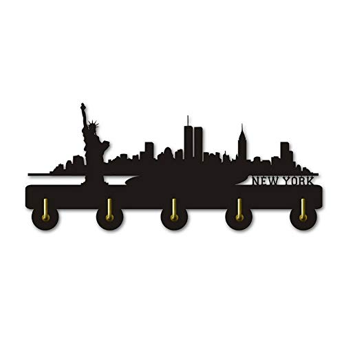 New York Skyline Silhouette Coat Hook Creativo Arte