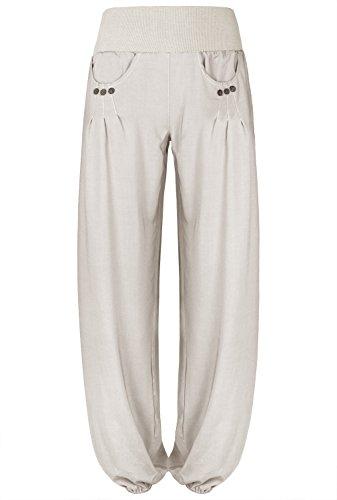 BAISHENGGT Mujer Pantalones de Pernera Ancha con Cintura Alta Beige X-Large