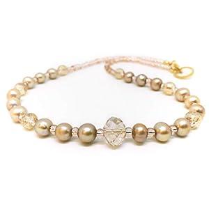 Designer Perlenkette mit Swarovski Kristallen (Briolette) und Süßwasserperlen