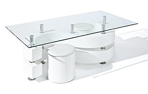 Links 50100005 Saphira Table Basse avec 2 Poufs Blanc 130 x 70 x 46 cm